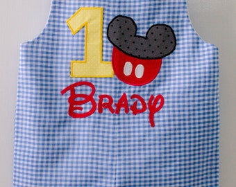 Personalized Mickey Mouse 1st Birthday Jon Jon, Mickey Mouse Romper, Mickey Mouse Jon Jon
