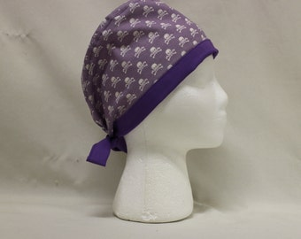 Lavender and White Skulls Surgical Scrub Cap Chemo NYC Signs Dental Hat