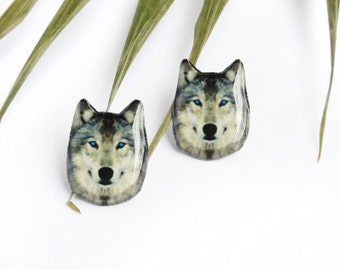 Wolf studs / Wolf earrings / Wolf jewelry / Wild animals studs / Wolf gift idea / Animal earrings / Wolf lover studs / Gift for her