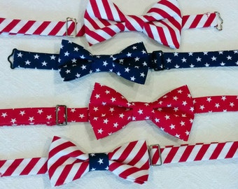 4th of July Bowtie, Patriotic Bowtie for Baby Toddler Big Boy Adult, America USA Bowtie, Stars and Stripes Bowtie, Red White and Blue Bowtie