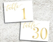 Printable Gold Table Numbers 1 - 30 | Instant Download | Gold Horizontal Table Numbers | Wedding | Events | Banquet | Reception | Gold Foil