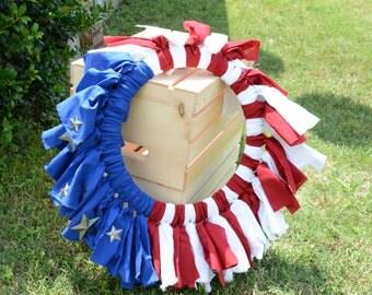4th of July, Fabric Wreath, Holiday Wreath, Door Wreath, Outdoor Wreath, Inside Wreath, Country Wreath