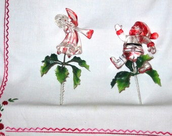 Christmas Picks-Santa, Angel, Reindeer and Candle Wreath-1960'S