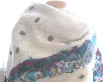 Nuno felt scarf, petrol/hellbl. Silk / Merino