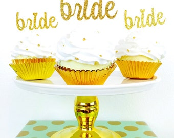 Bride Cupcake Toppers. Engagement Party. Bridal Shower. Bachelorette Party. Wedding. Bride.
