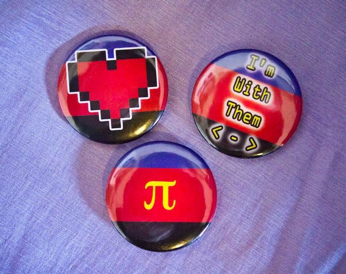 """Polyamory Pride Button Set (3) - 1"""" Pin Back"""