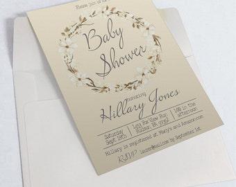 Baby Shower Invitation Printable - Gender Neutral Baby Shower Invite - Digital Invitation - Personalized Invitation - White Baby Shower