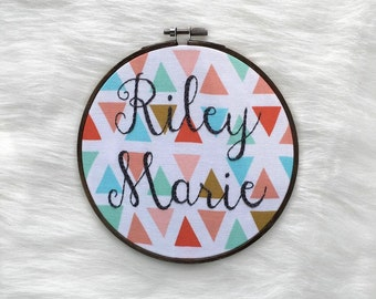 Sweet and simple hand embroidery for by thedarlingcollective custom name embroidery hoop personalized baby name wall art unique baby shower gift hand stitched name negle Gallery