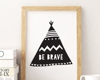 Scandinavan Teepee Print, Kids Room Decor, Kids Room Print, Kids Room Wall Art, Wall Decor, Nursery Wall Art, Nursery Print.