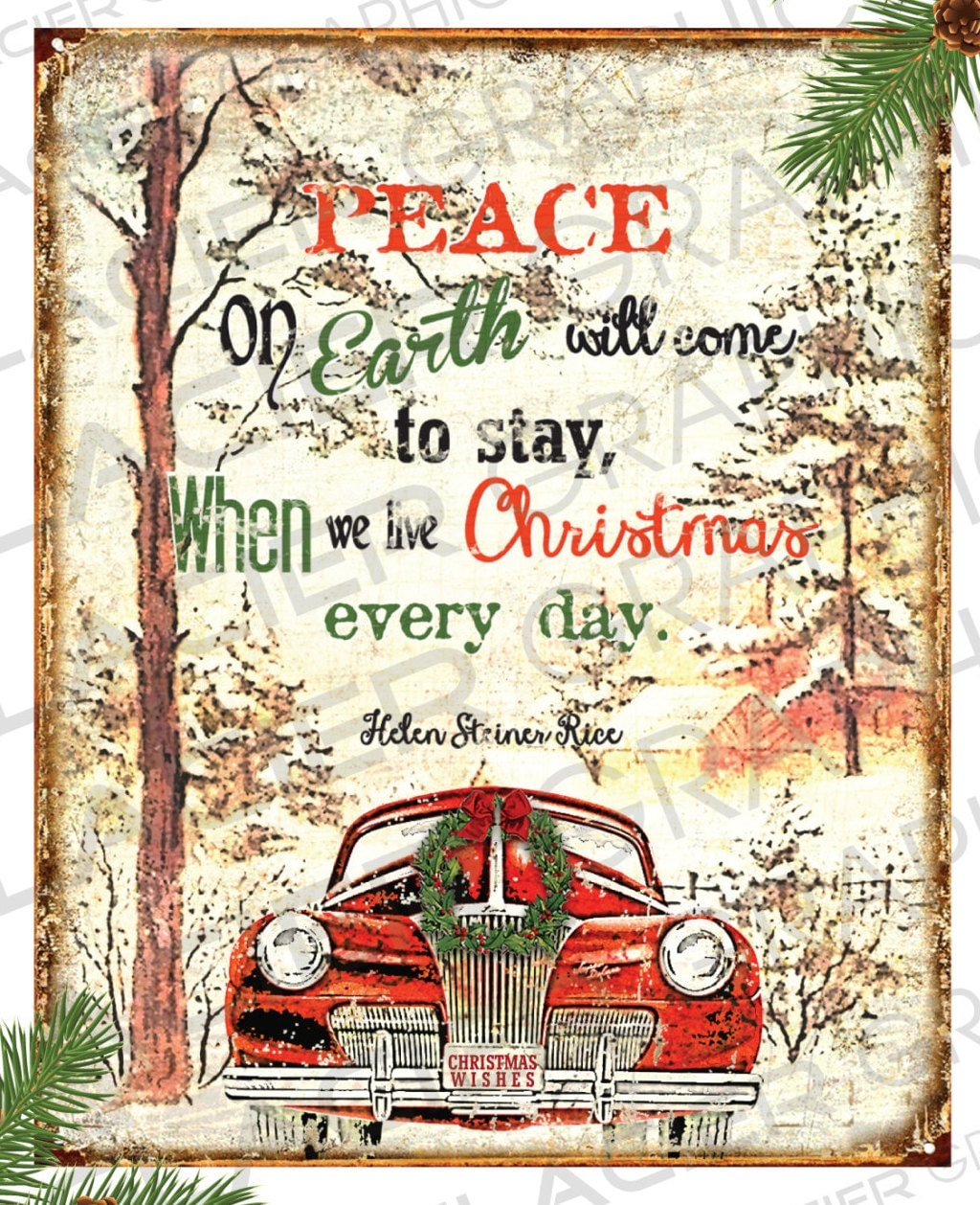 Peace on Earth Country Christmas Sign Primitive Labels Digital