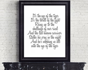 Eye of the Tiger, Survivor Lyrics, Instant Download, Digital Art, Song Lyrics, Famous Songs, Motivational Quotes, Rocky Soundtrack, Gift