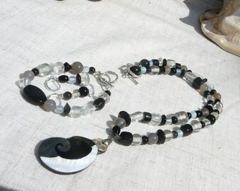 Clearance- Black and white necklace, 3 piece set, Intarsia Pendant, Beaded Necklace, Matching Bracelet, Matching Earrings, Leverbacks