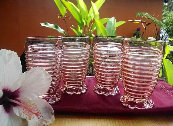 Vintage Anchor Hocking Pink Manhattan Tumblers, Horizontal Ribbed Glasses Set of Four (4), Pink Depression Glass Bubble Footed Glasses