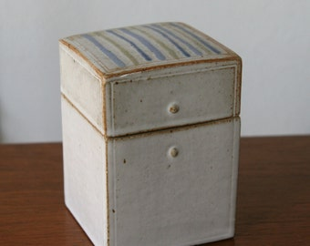 Vintage Aleen Gottlob Art Pottery Ceramic Stoneware Lidded Box Canister Jar
