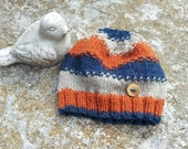 Wool Toddler Hat With Unique Slip Stitch and Hardwood Handcrafted Button From British Columbia