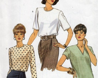 Free Us Ship Sewing Pattern Vogue 8572 Blouse 3 Neck Variations 8 10 12 Bust 31.5 32.5 34 Uncut Out of Print 2001