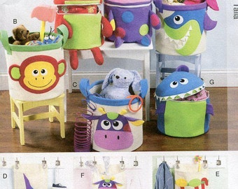 FREE US SHIP McCall's 6624 Crafts Funky Monster Basket Wall hangings toy Storage new Sewing Handmade Craft Pattern