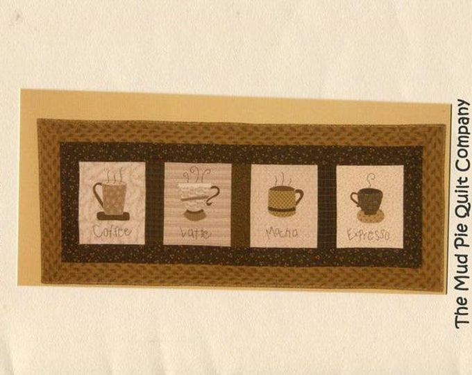 Free Usa Shipping Mud Pie Quilt Company Coffee Shop Cups Wall Hanging Out of Print 2006 New Condition ff Craft Sewing Pattern