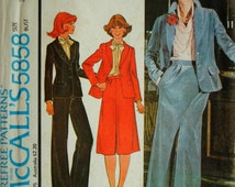 Vintage 1970s Misses Fitted Button Shawl Collar Flap Pocket Jacket Pleated Back Vent Skirt & Zipper Pants Size 8 Sewing Pattern McCalls 5858