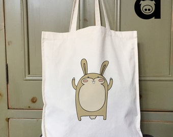 Rabbit Tote Bag,Canvas Tote Bag,Animal Tote Bag,Cotton Bag,Shopping Bag, Tote Bag,Natural Tote Bag,Grocery Bag,Xmas Tote Bag,Bunny Bag