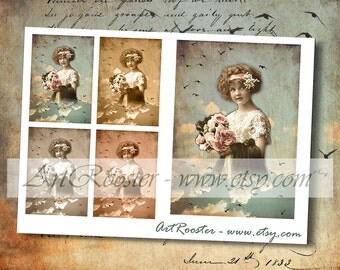 ACEO Digital Scrapbook Wedding Design Vintage FLOWER GIRL Images Digital Collage Printable Gift Tags Digital Paper Printable Greeting Cards