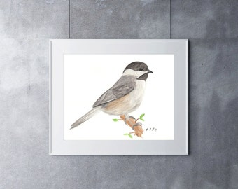 Chickadee Print, Watercolor Painting, Original Art, Bird Painting, Nature painting, Wildlife Art, Songbird Art