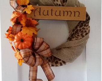 Fall front door wreath, autumn front door wreath, burlap and Chita with feathers and pumpkin wreath, Thanksgiving wreath, fall foliage
