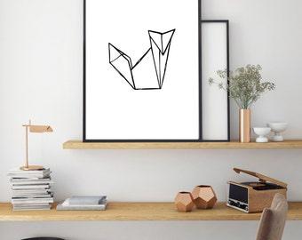 Fox Print, Geometric Poster, Digital Print, Minimal Animal Art, Modern Wall Poster, Abstract Art, Home Decor, Black And White Print
