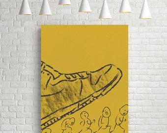 Line drawing print, charcoal print, minimal print, minimal art, charcoal texture, fun art, fun print, shoe, people, ochre, black, large wall