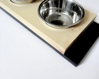 Modern medium feeder- SALE - Cat or dog bowls, Minimal design, Wood and black, animalove