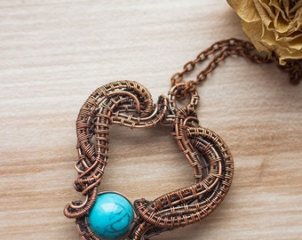Wire wrapped pendant with turquoise (howlite) - Copper pendant - Wire wrapped jewelry - Pendant - Neclace - Ideas for gift - Gift for her