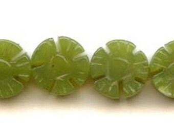 Green Jade Flower Bead, Hand Carved, Gemstone, Round, Flat, 10mm, 1 Strand