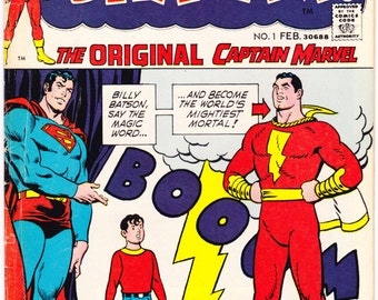 Shazam 1 comic book with Captain Marvel, Billy Batson, and Mary Jr. The Original hero. 1973 DC Comics in VGFN (5.0)