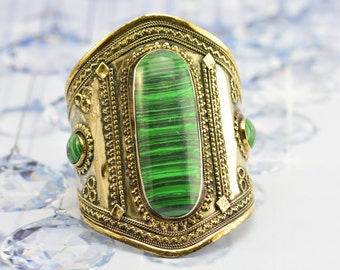 Afghan malachite Bracelet,Ethnic Cuffs,Gypsy Bracelet,malachite jewelry,Kuchi jewelry,Tribal Bracelet,Afghan jewelry,Malachite,Free shipping