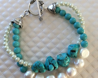 Turquoise and Pearl Double-Strand Bracelet