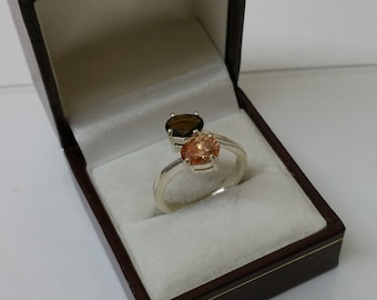 Ring Silver 925 Topaz orange and amber SR737