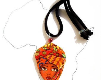 Unique Jewelry, 3D Hand Painted Paper Pendant, Gift idea for Africa Lover, Everyday Tribal Necklace, Recycled Cardboard Light Chocker