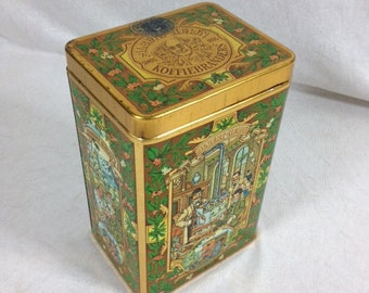 Beautiful Green Gold Vintage Tin Canister Coffee Tin