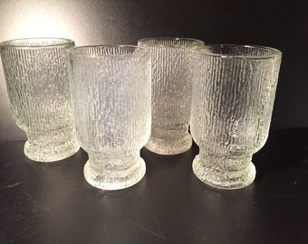 MCM Ice Glass Tumblers, Set of Four Vintage Bar Glasses