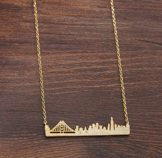 San francisco skyline necklace city outline landscape for San francisco handmade jewelry