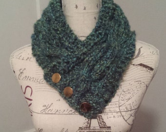 Turquoise Multi-Coloured Cabled Neck Warmer