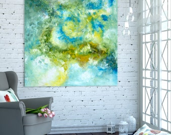 Ready for hanging Giclee Canvas print / Square Abstract minimal minimalist Wall Art Work , Artwork painting Sky blue turquoise Yellow Poster