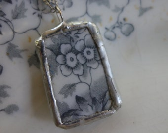 Broken china jewelry- broken china pendant necklace- gray flower vintage china necklace- flower necklace
