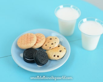 American Girl Doll Food - Polymer Clay - Milk and Cookies for Two - Chocolate Chip - Peanut Butter Cookies - Oreos - 18 Inch Dolls
