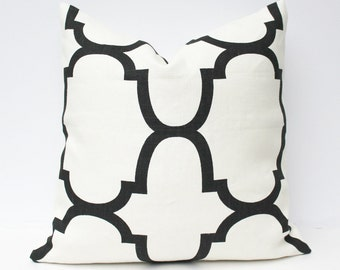Black & Cream Fret Pillow Cover - Black, Cream 18 x 18 - Windsor Smith Fabric