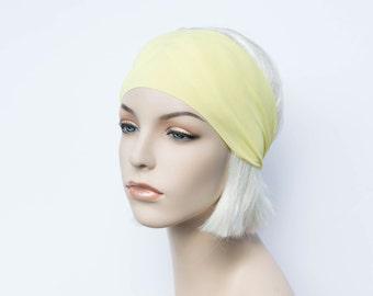 Light Yellow Yoga Headband, Workout Headband, Fitness Headband, Running Headband, Non Slip, Gym Dance Headband, Solid Color