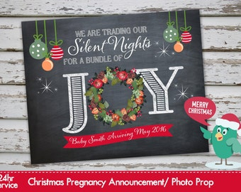 Christmas Pregnancy Announcement Christmas Pregnancy Photo Prop Chalkboard Announcement Xmas Pregnancy
