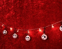 Nightmare before Christmas garland with hand painted ornaments. Faces of Jack Skellington. Decor, Xmas, ornament, light, ball. Halloween