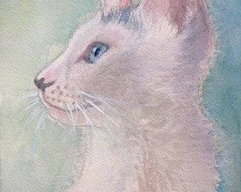 Framed Original Watercolor of White Cat