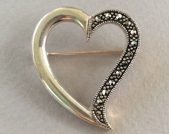 Silver and Marcasite Floating Heart Brooch/Pin